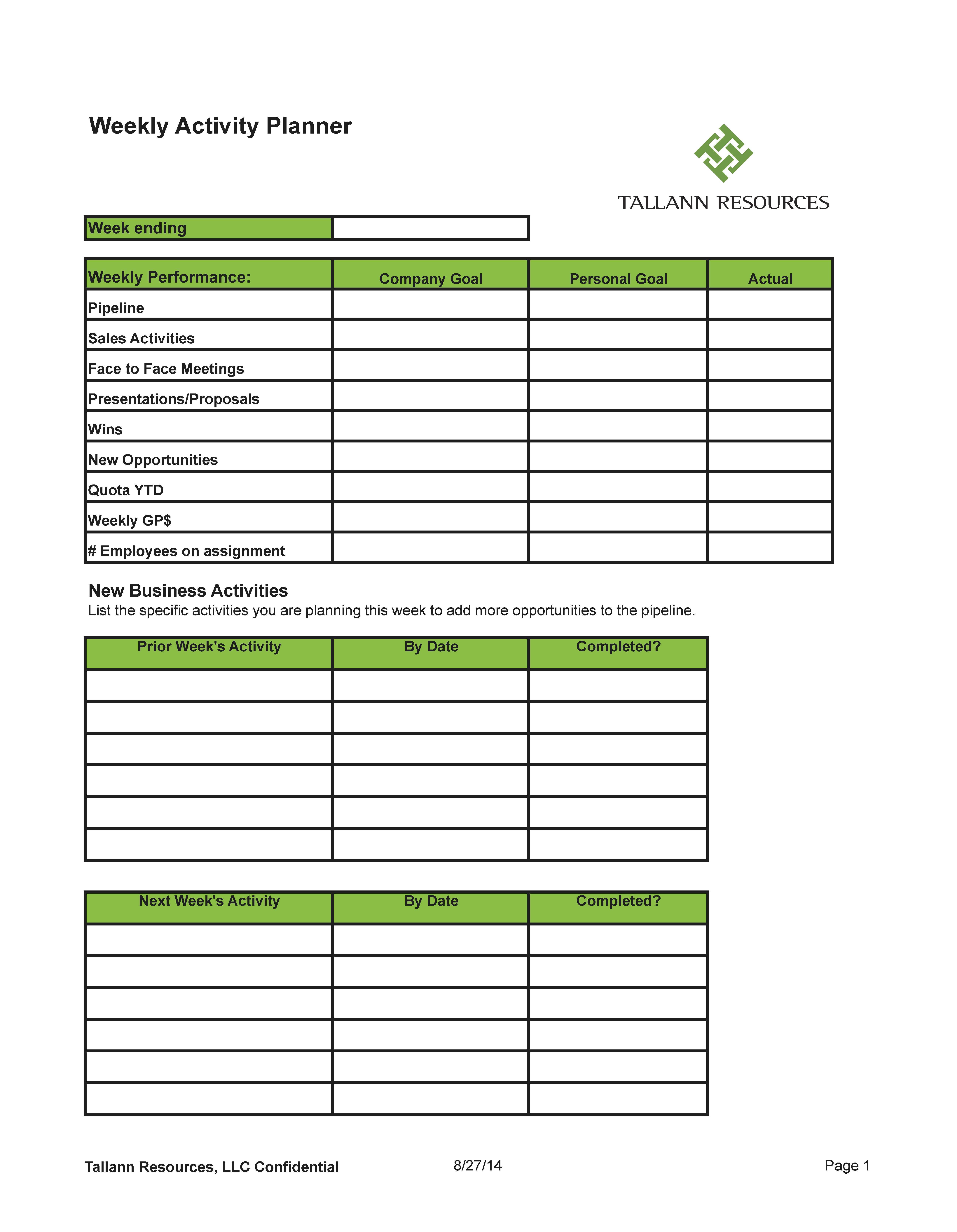 Tallann Resources Weekly Sales Activity Planner