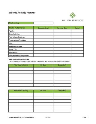 Tallann Resources Weekly Sales Activity Planner